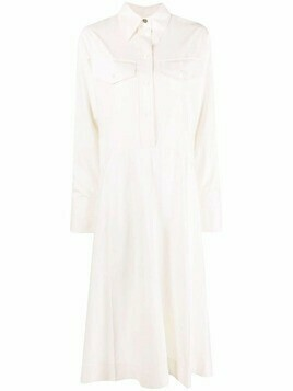 Victoria Beckham flared shirt midi dress - Neutrals