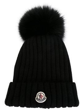 Moncler bobble top beanie - Black