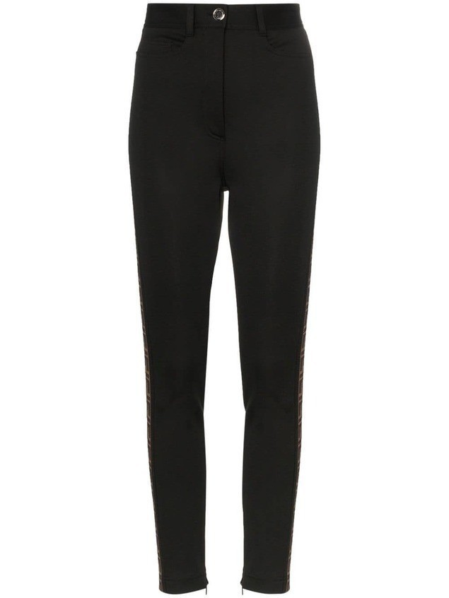 Fendi FF logo stripe leggings - Black