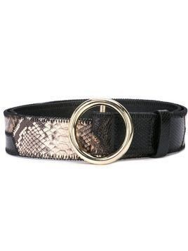 Frame snakeskin print belt - Brown
