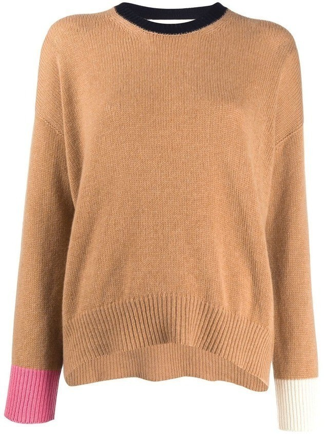 Marni contrast sleeve knit jumper - Brown