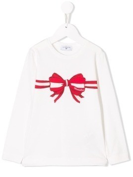 Monnalisa bow print long-sleeve top - White