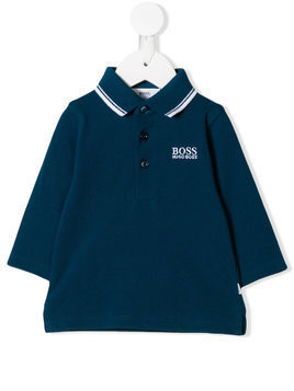Boss Kids stripe trim polo shirt - Blue