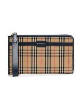 Burberry checked and logo printed pouch bag - Nude & Neutrals