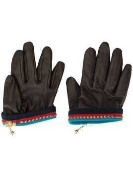 Kolor zip-detail gloves - Brown