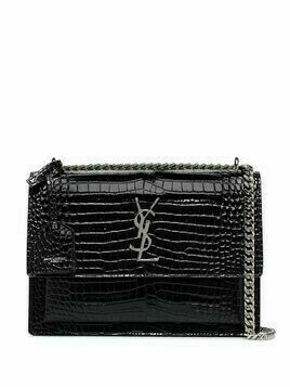 Saint Laurent Sunset croc-effect shoulder bag - Black