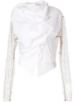 Aganovich draped asymmetric shirt - White