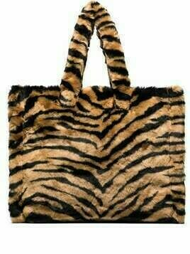 STAND STUDIO Liz tiger-stripe faux fur tote bag - Brown