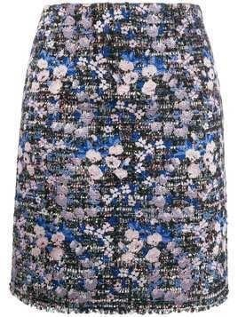Giambattista Valli floral embroidered tweed skirt - Blue