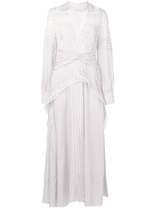Self-Portrait striped shirt dress - White