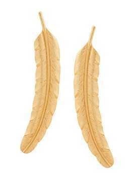 Oscar de la Renta Feather earrings - Metallic