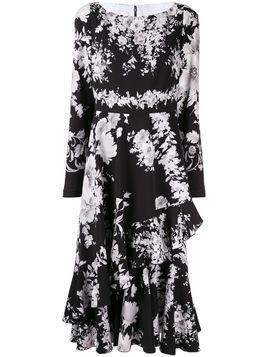 Ingie Paris floral long-sleeve midi dress - Black