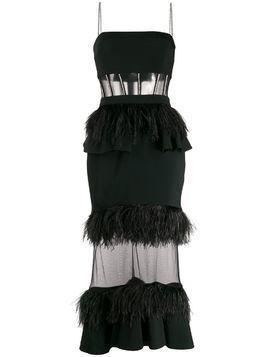 David Koma feather-trimmed gown - Black