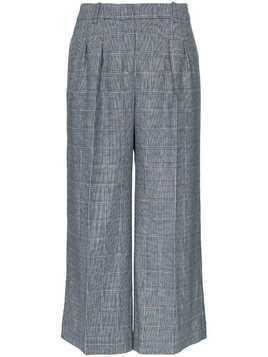 Erdem checked Hillary cropped pleated trousers - Blue
