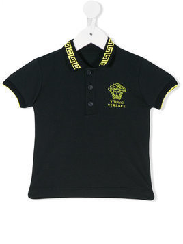 Young Versace - embroidered Medusa polo shirt - Kinder - Cotton - 36 mth - Blue