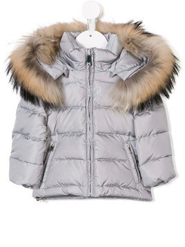 Il Gufo fur hooded padded coat - Grey