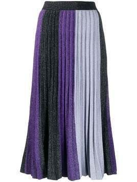 Derek Lam 10 Crosby colourblock pleated midi skirt - PURPLE