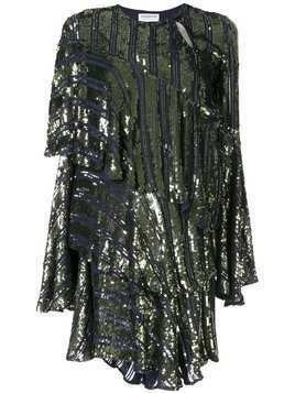 Osman Tina sequin asymmetric-tiered dress - Blue
