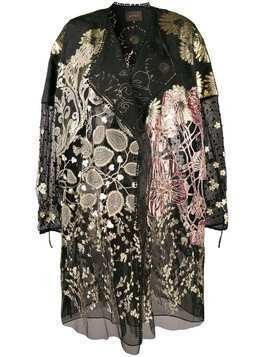 Biyan floral embroidered coat - Black