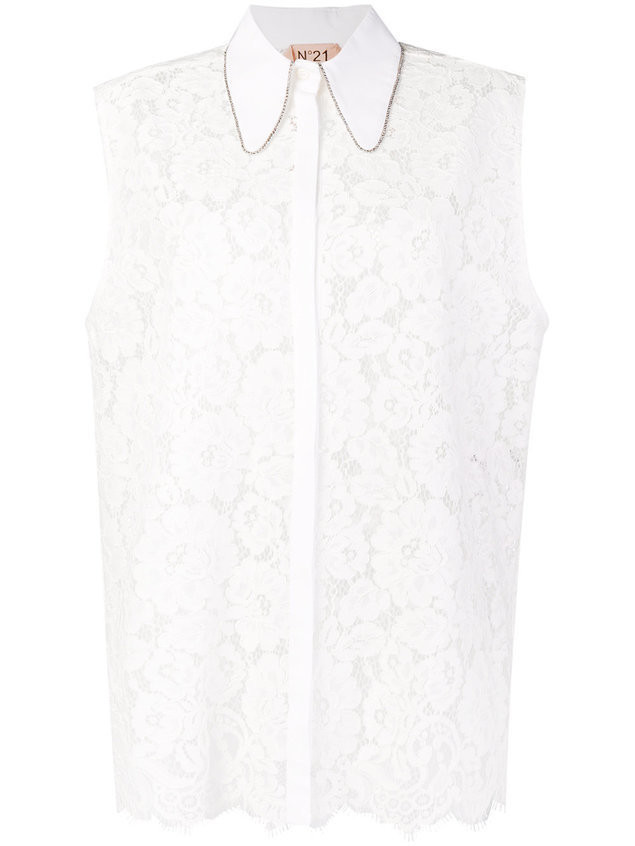 Nº21 lace crystal trim sleeveless blouse - White