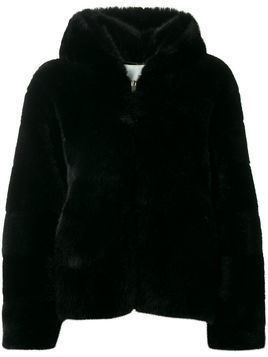 Ava Adore hooded faux-fur jacket - Black