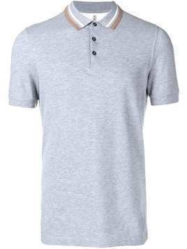 Brunello Cucinelli striped detail polo shirt - Grey