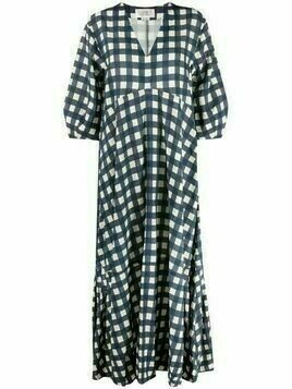 Victoria Victoria Beckham gingham check flared maxi dress - Blue