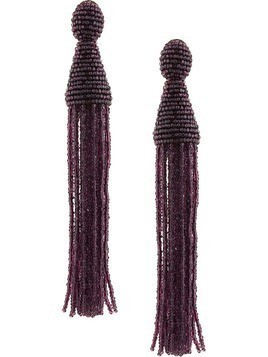 Oscar de la Renta Long Beaded Tassel earrings - Pink