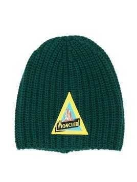 Moncler Kids knitted beanie hat - Green