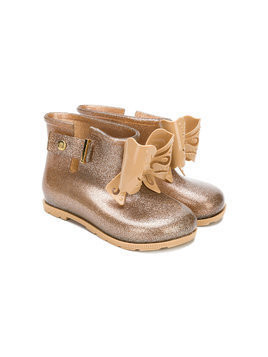 Mini Melissa glitter bow wellington boots - Brown