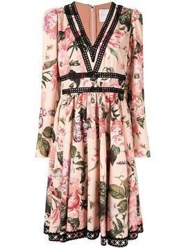 Ingie Paris floral flared midi dress - PINK