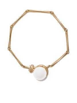 Hum 18kt yellow gold silver lip pearl 11mm bracelet