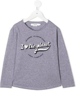 Bonpoint slogan print long-sleeve top - Grey