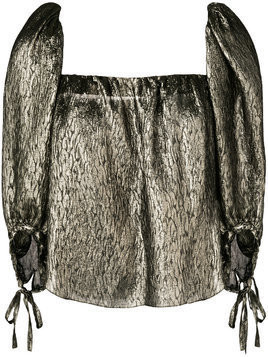 Saint Laurent cropped blouse - Metallic