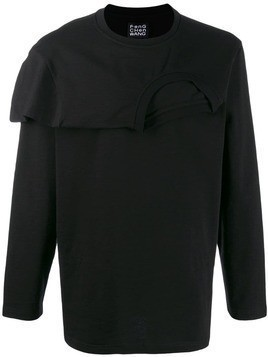Fengchen Wang double layer jersey top - Black