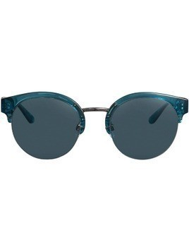 Burberry Check Detail Round Half-frame Sunglasses - Blue