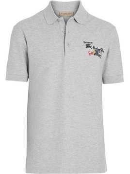 Burberry Triple Archive Logo Cotton Piqué Polo Shirt - Grey