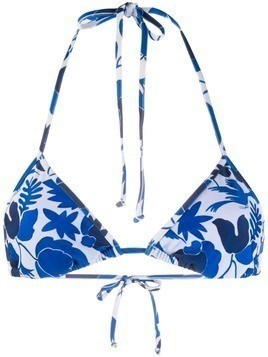 La Doublej printed triangle bikini top - Blue