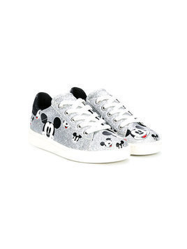 Moa Kids mickey mouse print sneakers - Metallic