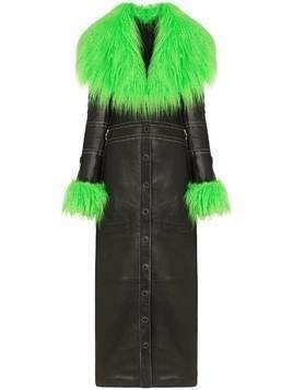 Marine Serre faux fur-trim maxi coat - Black
