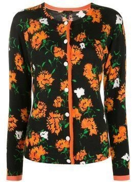 Escada floral intarsia slim-fit cardigan - Black
