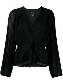 DKNY crossover-neck pleated blouse - Black