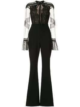 Ingie Paris lace-detail flared jumpsuit - Black