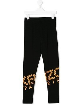 Kenzo Kids logo print leggings - Black