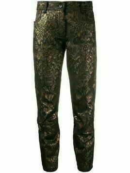 Ann Demeulemeester cropped metallic thread trousers - Black