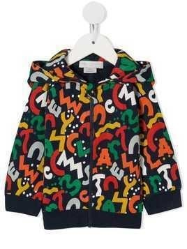 Stella McCartney Kids logo print zip-front hoodie - Black
