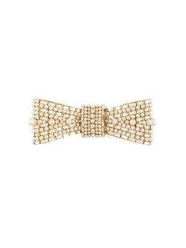 Dolce & Gabbana embellished bow-shaped brooch - GOLD