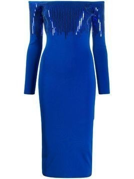 David Koma sequined off-shoulder dress - Blue