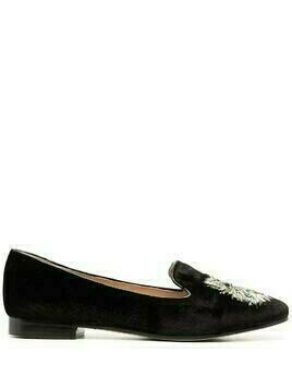 Kate Spade metallic cat-embroidered loafers - Black