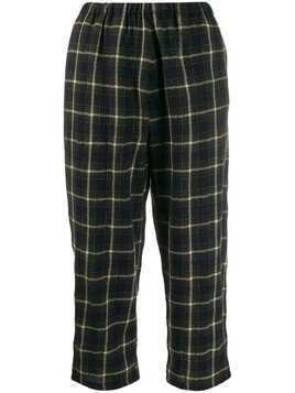 Apuntob checked wool trousers - Blue